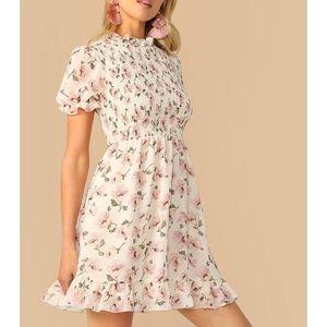 Beige Floral Ruffle Hem Shirred Fit & Flare Dress